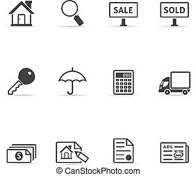 Single Color Icons - Real Estate - Real estate icon set in...