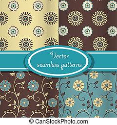 Vector set of vintage floral patterns - Set of seamless...