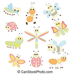 collection of cartoon insects - Vector illustration...