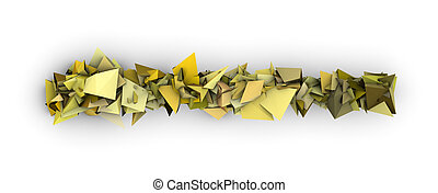 yellow 3d abstract modern sculpture on white