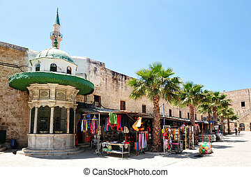Travel Photos of Israel - Acer Akko - Shops outside the...