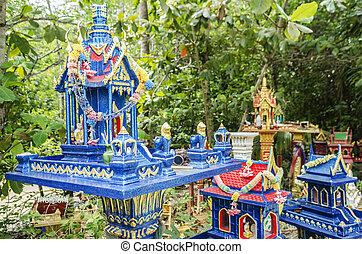 spirit houses in ko phangan thailand