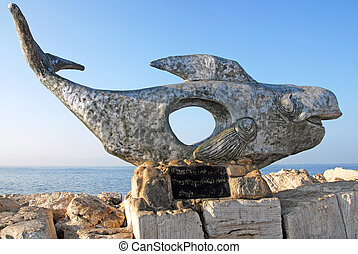Travel Photos of Israel - Acer Akko - Statue of a whale at...