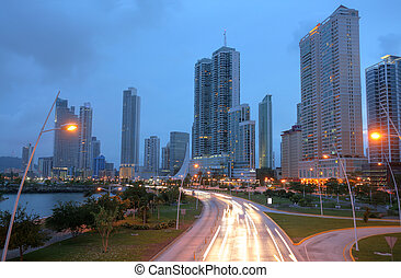 Stunning view of Panama City by the sunset.