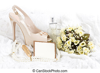 shoes, lace with banner add - The beautiful bridal shoes,...
