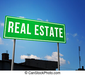 Real Estate on Road Sign