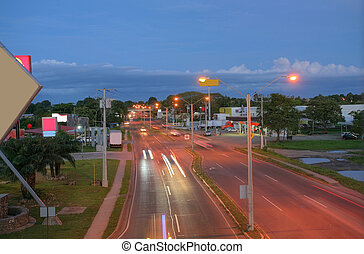 Main highway of Panama in the sunset Via Interamericana This...