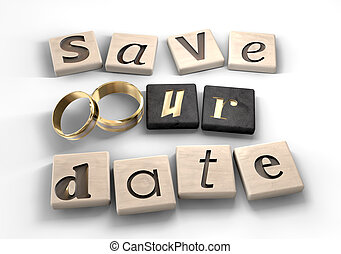 Save Our Date - Square wood tiles engraved with various...