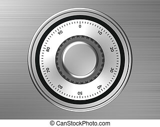 Safe dial with code isolated on a mettalic background