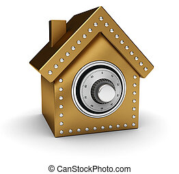 Gold house safe isolated on white background