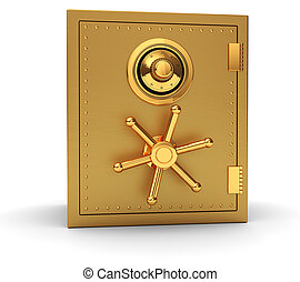 Golden safe - Big golden safe isolated on white background