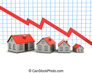 Houses and graph - Red graph and houses: decline in sales