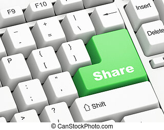 Keyboard with Share button - Keyboard with green Share...