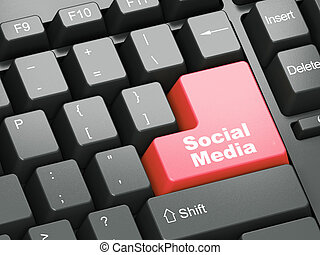 Black keyboard with Social Media button