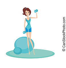 fit brunette woman exercising with two dumbbell weights on...