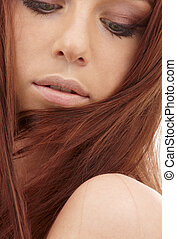 red hair - closeup portrait of sensual redhead with long...