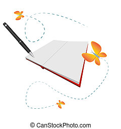 Open blank book with pen and lovely butterflies
