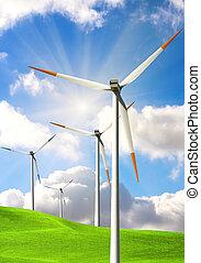 Wind energy on blue sky