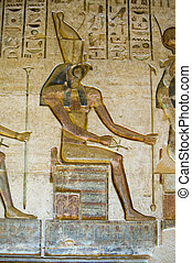 Horus God on Throne - Ancient Egyptian bas relief carving on...