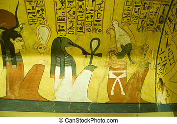 Ancient Egyptian Gods mural - Ancient Egyptian mural on...