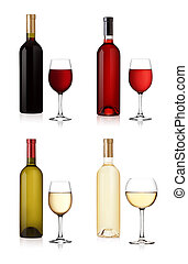 Set of white, rose, and red wine bottles and glas isolated...