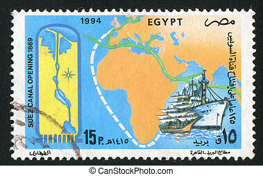 Map of Africa - EGYPT - CIRCA 1994: stamp printed by Egypt,...