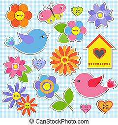 Birds and flowers Vector set of stickers