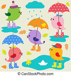 Colorful cute birds Autumn vector set