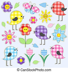 Cute birds and flowers. Vector set of textile stickers