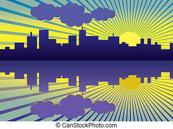 morning city panorama picture - illustration