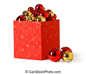 christmas present. Gift box and christmas baubles on a white...