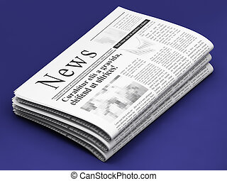 Newspapers on blue background