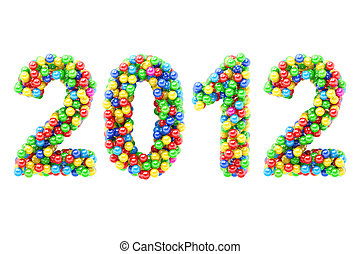 Colorful 2012 numbers on white - Colorful 2012 numbers on...