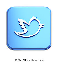 Blue button with Burd in white