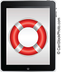 Tablet Computer With Red Life Buoy