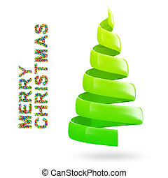 Christmas tree with colorful MERRY CHRISTMAS text on white...