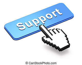 Hand-shaped mouse cursor press Support button