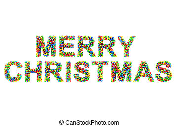 Colorful MERRY CHRISTMAS on white background