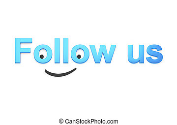 Blue Follow Us text with smiley