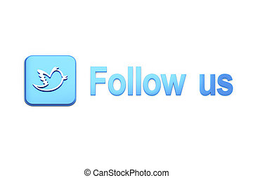 Blue  button with bird and Follow Us text