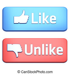 """Like"" and ""Unlike"" buttons 3d  render on white"
