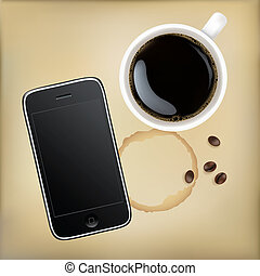 Mobile Phone With Cup Of Coffee, Vector Illustration