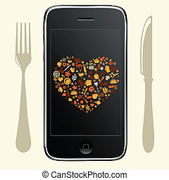 Phone With Food Icons