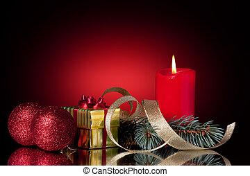 christmas decoration. christmas balls, gift box, candle,...