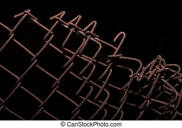 the old iron railing on a black background