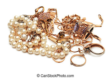 Gold ornaments isolated on a white background