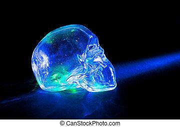 Light blue glass skull - Transparent glass skull with blue...