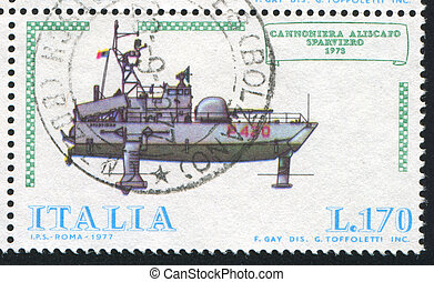 Hydrofoil gunboat Sparviero - ITALY - CIRCA 1977: stamp...