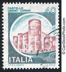 castle - ITALY - CIRCA 1980: stamp printed by Italy, shows...