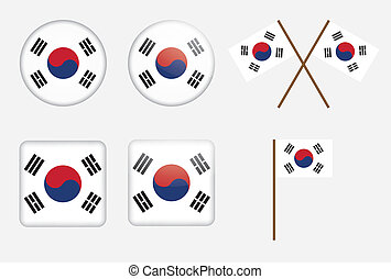 badges with flag of South Korea - set of badges with flag of...
